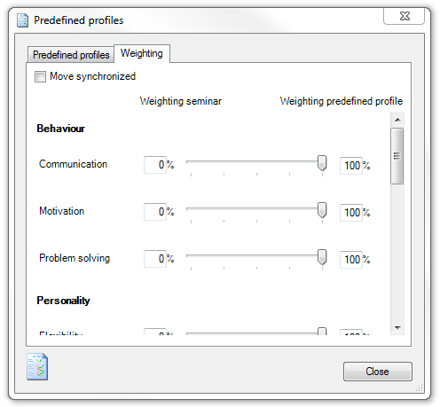 Ingentis easy.pes: Predefined profiles