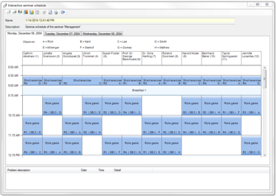 Interactive time schedule in easy.pes