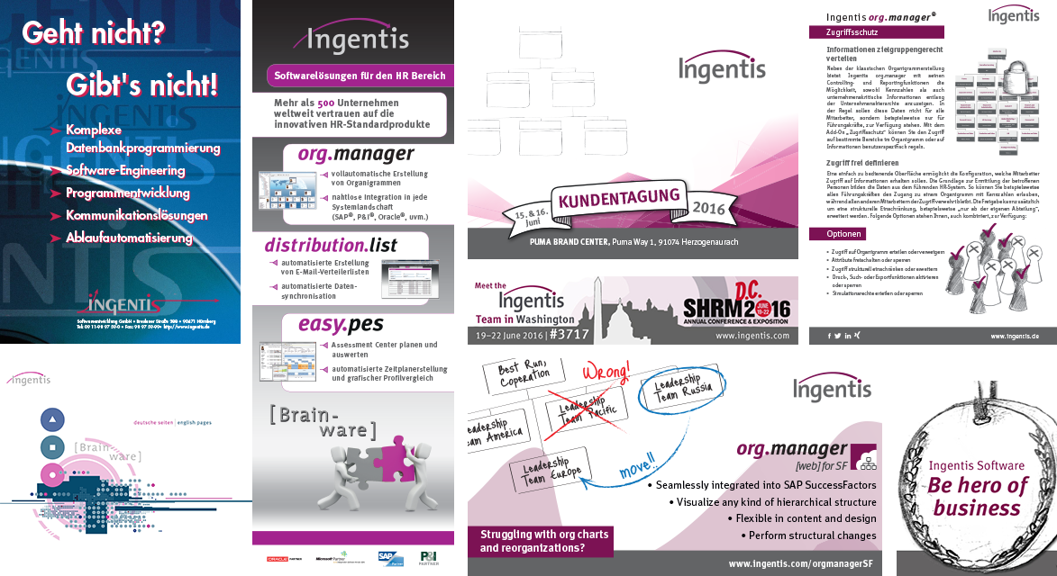 Redesign des Ingentis Marketingmaterial