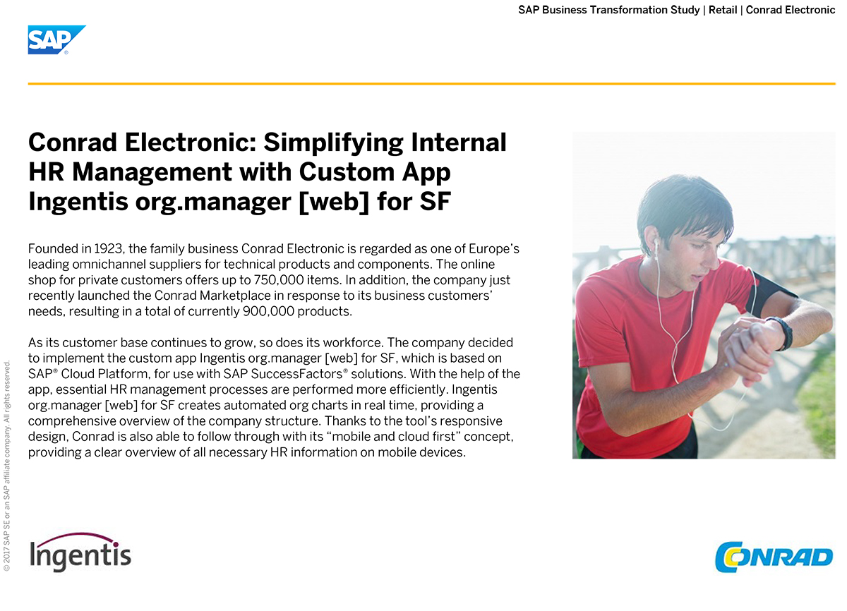 Conrad Electronic: Simplifying Internal HR Management with Ingentis org.manager [web] for SF